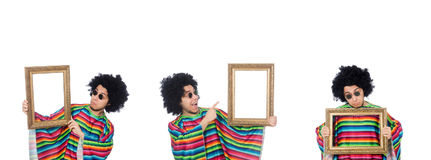 The funny mexican with photo frame isolated on white Stock Image