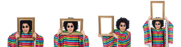 The funny mexican with photo frame isolated on white Royalty Free Stock Photography