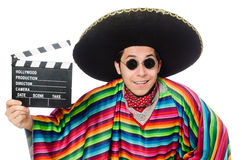 Funny mexican in poncho with clapper-board Stock Photo