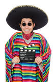 Funny mexican in poncho with clapper-board Stock Image