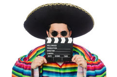 Funny mexican in poncho with clapper-board Stock Photos
