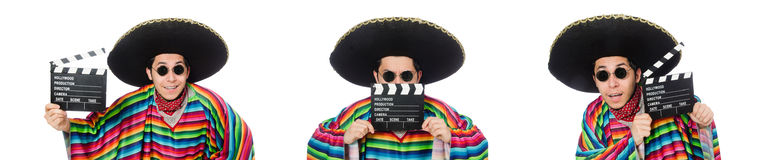 The funny mexican in poncho with clapper-board isolated on white Royalty Free Stock Images