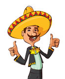 Funny mexican showing thumbs up Royalty Free Stock Images