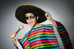 Funny mexican singing in karaoke. The funny mexican singing in karaoke Royalty Free Stock Photos