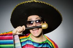 Funny mexican singing in karaoke Royalty Free Stock Photos