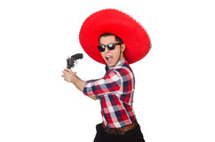 Funny mexican with sombrero in concept Royalty Free Stock Photos