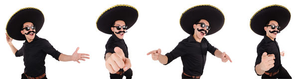The funny mexican with sombrero in concept Royalty Free Stock Photos