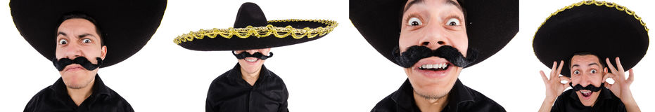 The funny mexican with sombrero hat Royalty Free Stock Image
