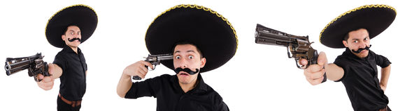 The funny mexican with sombrero hat Stock Photos