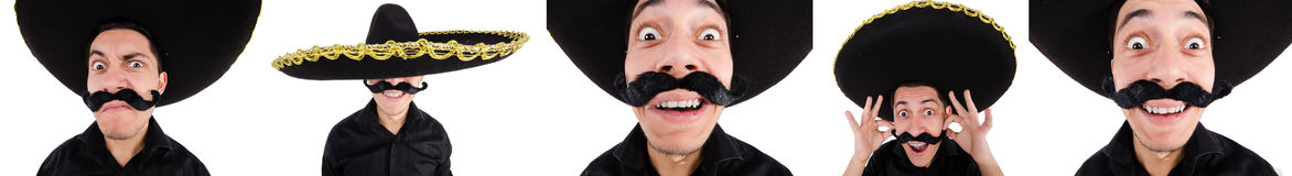 The funny mexican with sombrero hat Stock Images