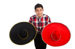 Funny mexican with sombrero i. N concept stock photo