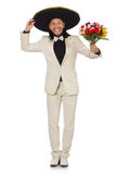 The funny mexican in suit holding flowers Stock Photography