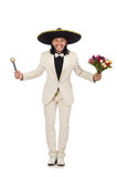 The funny mexican in suit holding flowers isolated Stock Photo