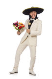 Funny mexican in suit holding flowers isolated on Stock Image