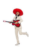 Funny mexican in suit holding guitar isolated on Stock Photography