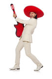 Funny mexican in suit holding guitar isolated on Royalty Free Stock Photos