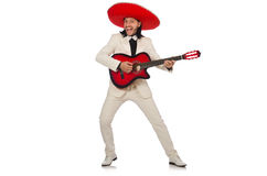 The funny mexican in suit holding guitar Royalty Free Stock Photos