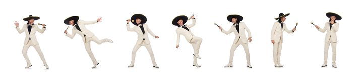 The funny mexican in suit holding maracas isolated on white. Funny mexican in suit holding maracas isolated on white stock images