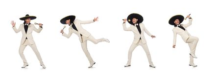 The funny mexican in suit holding maracas isolated on white. Funny mexican in suit holding maracas isolated on white stock image