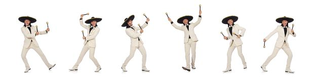 The funny mexican in suit holding maracas isolated on white. Funny mexican in suit holding maracas isolated on white stock photos