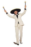 The funny mexican in suit holding maracas Royalty Free Stock Photos