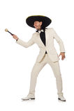 The funny mexican in suit holding maracas isolated Royalty Free Stock Image