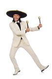 The funny mexican in suit holding maracas isolated Stock Photos