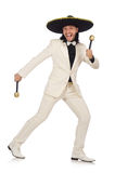 The funny mexican in suit holding maracas isolated Stock Photography