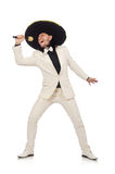 Funny mexican in suit holding maracas isolated on Royalty Free Stock Image