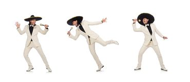 Funny mexican in suit holding maracas  on white. The funny mexican in suit holding maracas  on white stock photography