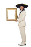 The funny mexican in suit holding photo frame Stock Photo
