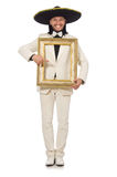 The funny mexican in suit holding photo frame Stock Images
