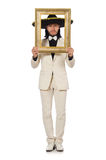 The funny mexican in suit holding photo frame Royalty Free Stock Image