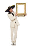 The funny mexican in suit holding photo frame Royalty Free Stock Photos