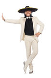 The funny mexican in suit and sombrero on Stock Photo