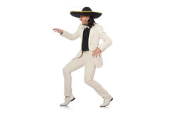Funny mexican in suit and sombrero isolated on Stock Image