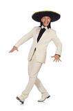 Funny mexican in suit and sombrero isolated on Royalty Free Stock Photography
