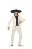 Funny mexican in suit and sombrero isolated on Stock Images