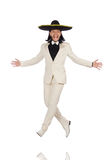 Funny mexican in suit and sombrero isolated on Royalty Free Stock Photo
