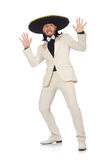 The funny mexican in suit and sombrero  Stock Photography