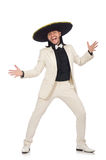 The funny mexican in suit and sombrero isolated on white Stock Image