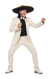 The funny mexican in suit and sombrero isolated on white Royalty Free Stock Image