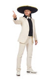 The funny mexican in suit and sombrero isolated on white Royalty Free Stock Photography