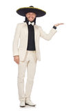 The funny mexican in suit and sombrero isolated on white Stock Photos
