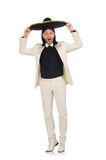 The funny mexican in suit and sombrero isolated on white Stock Photography
