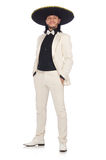 The funny mexican in suit and sombrero isolated on white Royalty Free Stock Photo