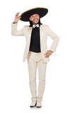 The funny mexican in suit and sombrero isolated on white. Funny mexican in suit and sombrero isolated on white stock image