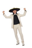 The funny mexican in suit and sombrero isolated on white. Funny mexican in suit and sombrero isolated on white Royalty Free Stock Images