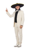 The funny mexican in suit and sombrero isolated on white. Funny mexican in suit and sombrero isolated on white stock images