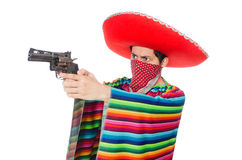 Funny mexican with weapon isolated on white Royalty Free Stock Photo